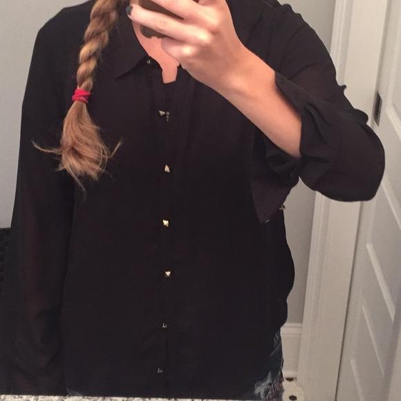 Tops - Sheer black button down shirt